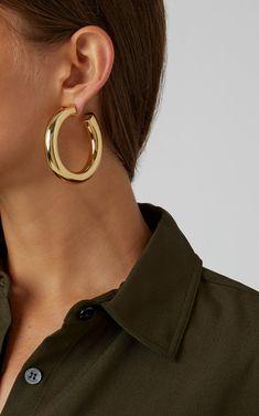 woman wearing hoop earrings for Zoom Ready Jewelry